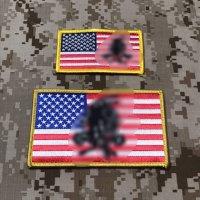 MADE IN USA  実物 DEVGRU レッドチーム 星条旗フラッグパッチ2枚セット (1)