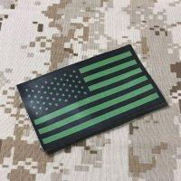 米軍官給品 実物星条旗パッチ OD IR ベルクロ付 放出品 USED